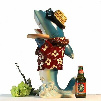 2 Foot Shark Butler Waiter Statue with Two Trays Old Gold Tie Kitchen Pub Bar