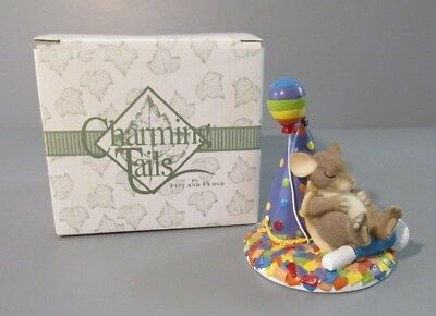 """Fitz & Floyd Charming Tails """"Take Time to Dream"""" Mouse on Party Hat Figurine"""