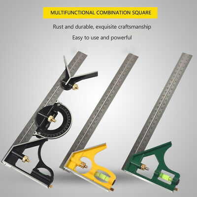 """Stainless Steel Adjustable 12""""Combination Square Angle Ruler Measuring Tools"""