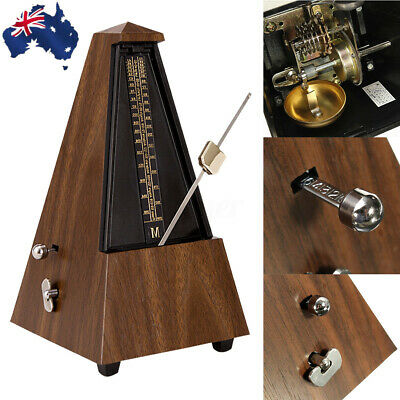 AU Antique Mechanical Metronome Teak Vintage Wood Color Tower Music Timer