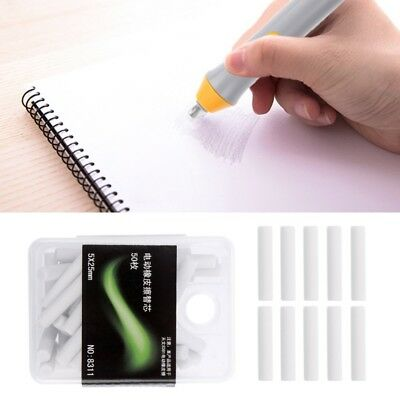 50 Pcs Rubber Electric Eraser Replacement Sketch Erasing School Stationeries Use