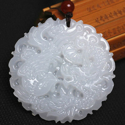 Natural White Jade Carved Charm Pendant Dragon Phoenix Amulet Jewelry Antiques