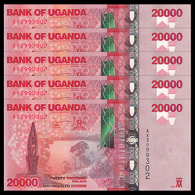 Lot 5 PCS, Uganda 20000 (20,000) Shillings, 2015(2016), P-NEW, UNC, 1/20 Bundle