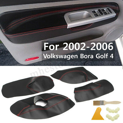 4Pcs Microfibre Leather Door Panel Armrest Cover For VVW Bora Golf 4 2002 - 2006