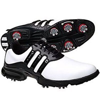 ADIDAS GOLF A3 3-STRIPE White Leather Waterproof Golf Shoes Cleat Mens 9 adiWEAR