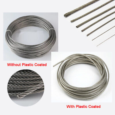 0.8~6mm Stainless Steel Cable Wire Rope Flexible Clothesline Pipe PVC 1,5,10M