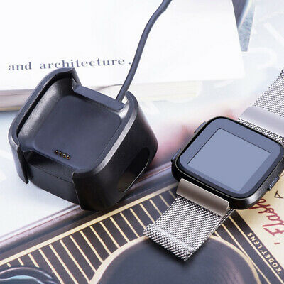 For Fitbit Versa Smart Watch USB Charging Cable Power Charger Dock Cradle Black