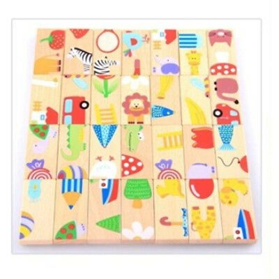 28pcs Wooden Zoo Animals Jigsaw Puzzle Children Kid Learning Educational Toy New