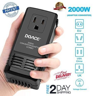 2000W Travel Adapter and Power Converter Mini Transformer Step Down 220V to 110V