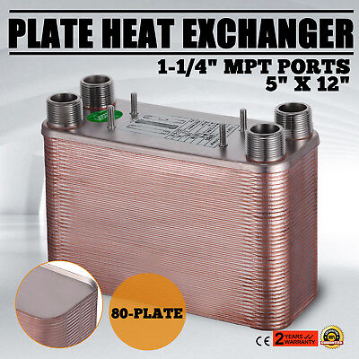 """80 Plate Water to Water Brazed Plate Heat Exchanger Outdoor NPT 1.25""""male"""