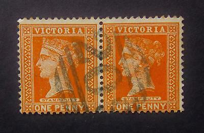 1890 -1900 Victoria. 1d One Penny Brown. Pair Of Stamp Duty Stamps Used.