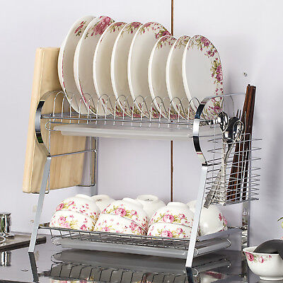2 Tier Dish Drainer Rack Kitchen Chrome Wall Mounted Drying Holder