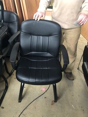 black leather visitor/boardroom arm chair (9 in total)