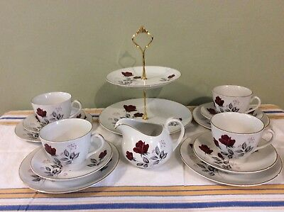 Beautiful Vintage Ridgway Red Rose Tea Set For Four With Two Tier Cake Stand