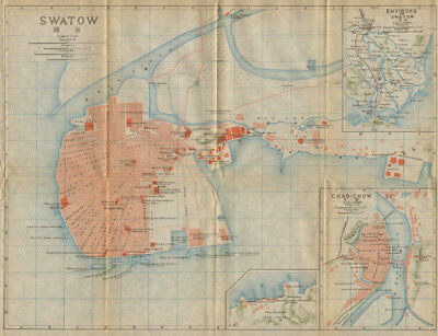 'Swatow'. Shantou antique town city plan. China 1915 old map chart