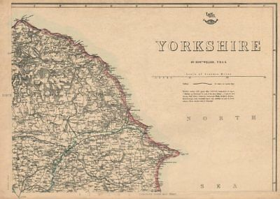 YORKSHIRE NORTH EAST COAST. Bridlington Whitby Scarborough. WELLER 1863 map