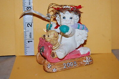 Collectible DREAMSICLES 2003 CHRISTMAS ORNAMENT Angel Riding Sled w/ Teddy Bear