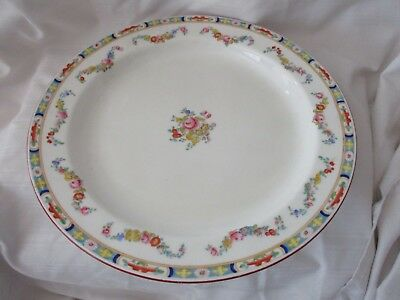Minton round serving platter rust red blue floral garland pink green Anson F