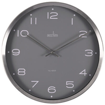 Acctim Carrie Design Brushed Silver Effect Wall Clock Grey Dial 25cm