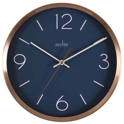 Acctim Landon Design Copper Effect Wall Clock with Navy Blue Dial 25cm