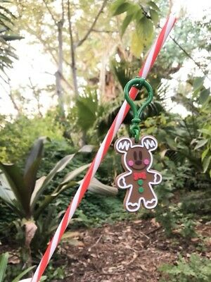 Disney Parks Holiday Christmas Candy Cane Straw & Mickey Gingerbread Clip NEW