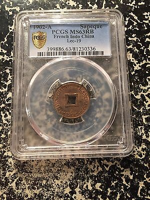 1902-A French Indo-China Sapeque PCGS MS63 Red Brown Lot#G197 Nice UNC Example!