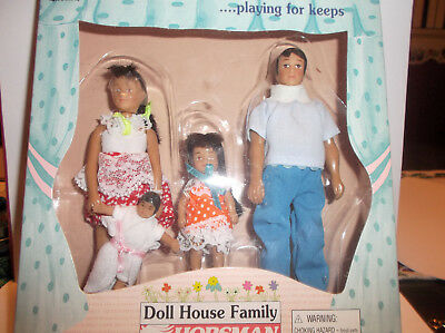 "Miniature Doll House 1:12""  Scale Doll Family Of Four Made Of Plastic"