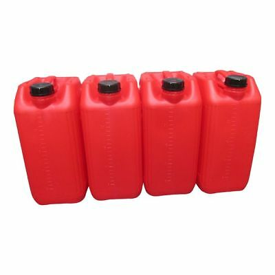 4 X 25 Litre 25L New Plastic Bottle Jerry Can Water Container Red Heavy Duty