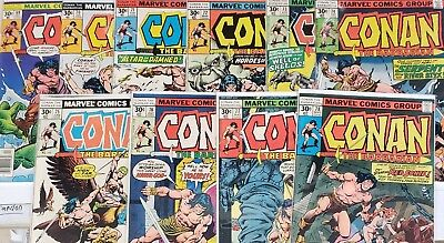 Conan the Barbarian 69 to 78 Run of 10 Comics  Red Sonja  Marvel 1977 VG to FN