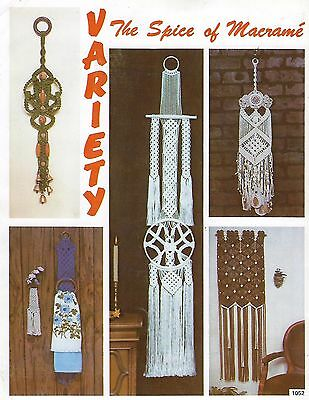 Vtg Macrame Wall Hangings Art Patterns The Spice of Macrame Craft Book PD1052