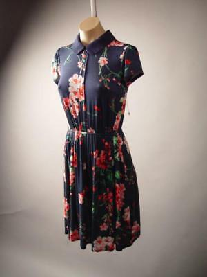 Peter Pan Collar Vintage Style 40s Dark Blue Floral Print 263 mv Dress S M L XL