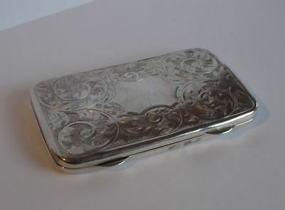 LOVELY ANTIQUE ENGLISH STERLING SILVER STAMP CASE or SMALL CARD CASE/WALLET,