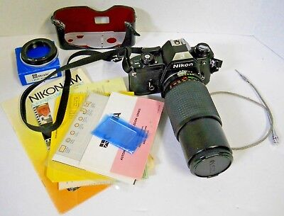 Nikon EM 35mm Camera w/ Osawa MC 1:4.5 80-200mm Lens + T-Mount Nikon -A1 Bundle