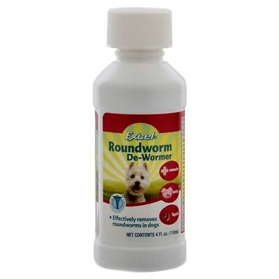 8 In 1 Excel Roundworm De Wormer Liquid For Dogs & Cats - 4 Fl. Oz./118 ml
