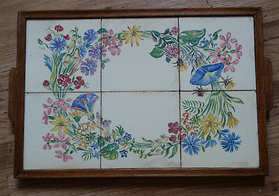 vintage  hand painted tiled wooden tray