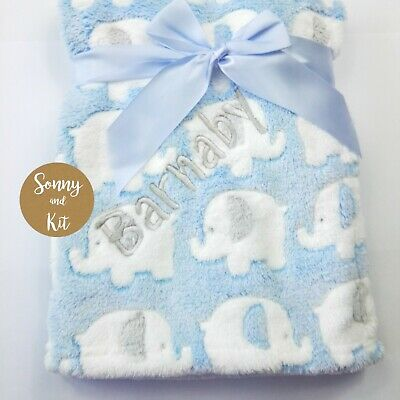 Personalised Elephant Blanket, Baby Boy Gift, Custom Embroidered, SUPER SOFT