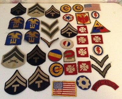 Large Lot Of WW2 Us Military Patches - 38 Patches Total - Nice condition