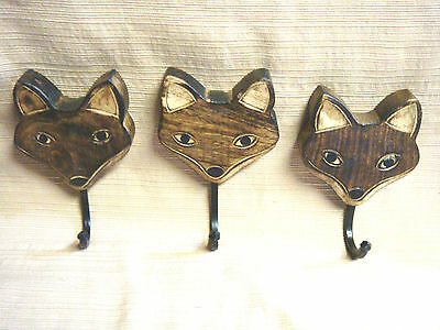 3 Pc Set UNIQUE Handcafted WOODEDN FOX FACE w/ Cast Iron Hooks