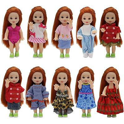"""Lot 6 Sets Fashion Clothes Dress Outfit Costume for Doll 4"""" Dolls Handmade Gift"""