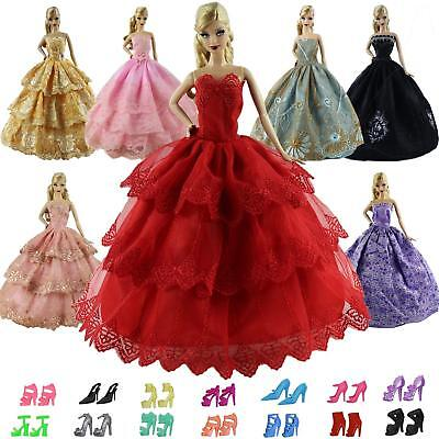 """Lot 5 PCS Fashion Outfits Clothes Dress +10 shoes for11.5""""  Doll Gift Handmade"""