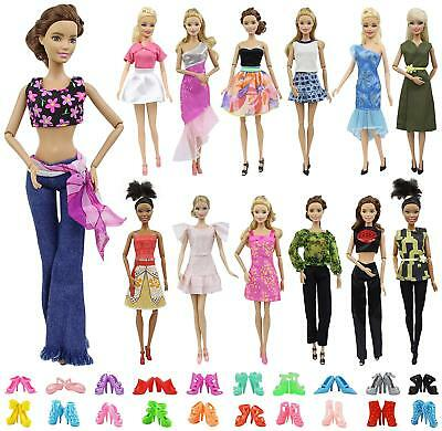 "10 Set Mix Style Fashion Handmade Clothes Outfit + 10 Pairs Shoes 11.5""  Doll"