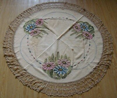 Antique Round Linen Embroidered Tablecloth w/ crocheted Broomstick Lace