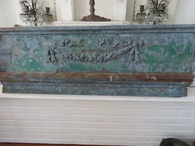 OMG OLD ARCHITECTURAL Zinc METAL HEADER Pediment SWAGS FLOWERS BOW Chippy PATINA