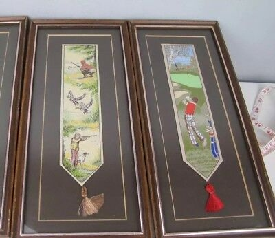 2 x sporting Cashs bookmarks Woven Silk Pictures Framed ( golf shooting )