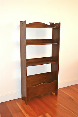 Original Arts and Crafts solid oak book shelves bookcase with cut out designs