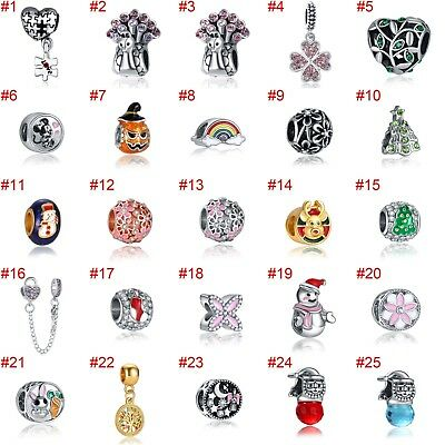 European Silver Charms Flowers Beads CZ Xmas Pendant Fit 925 Sterling Bracelets