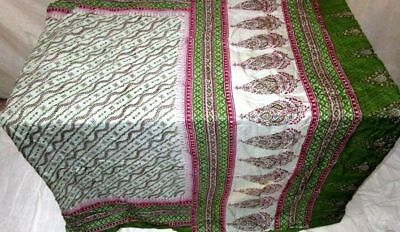 Grey Green Pure Silk 4 yard Vintage Sari Saree Fast Selling recycled Ebay #9BQV0