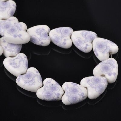 NEW 10pcs 14mm Ceramic Heart Flowers Loose Spacer Beads Findings Pattern #7