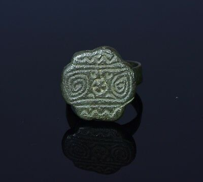 Medieval Viking Bronze Ring With A Runic Motif On The Bezel - T3