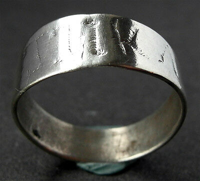 SUPERB, WEARABLE GENUINE MEDIEVAL SILVER RING -inscription -